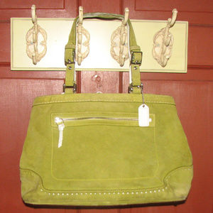 Coach Hamilton green suede white leather satchel